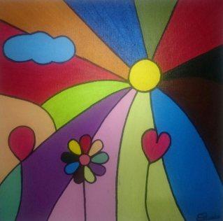 sol amarillo con rayos a todo color, una nube, dos globos y una flor