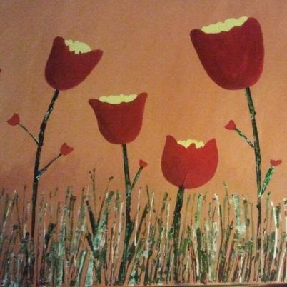 Flores tulipanes en un jardín