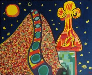 Casa Batlló pintada con el estilo de Helen Combart