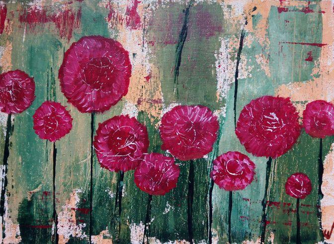 jardín vintage. Flores rojas con toques blancos, sobre fondo verde y amarillo.