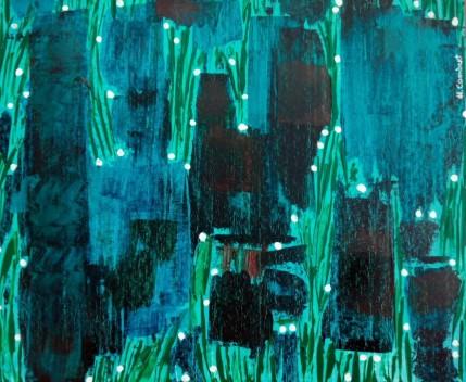 cuadro pintado en acrílico abstracto, con colores azul y verde y puntos blancos de luz