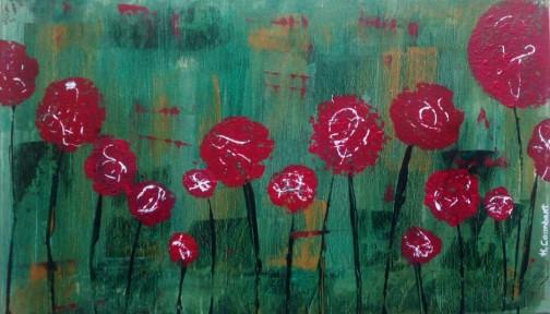 jardín vintage con flores rojas