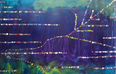 cuadro pintado en acrílico, abstracto, con puntos de colores.