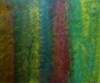 cuadro pintado con acrílicos, representan lineas verticales de varios colores