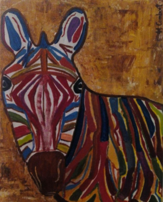 Un burro a todo color que parece una zebra
