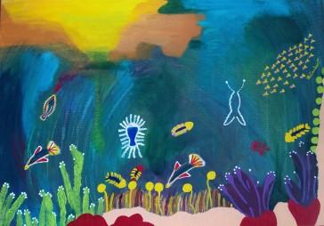 Cuadro pintado con acrílicos. Representa el fondo del mar de Tailandia. Colorido, alegre y precioso.