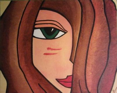 rostro de una mujer con el pelo marrón, ojo verde y labios rojos. Un mechón tapa la mitad de la cara.